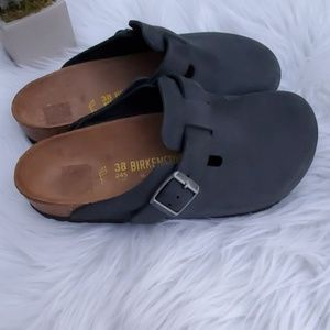 Birkenstocks Boston Oiled Leather Black Mules